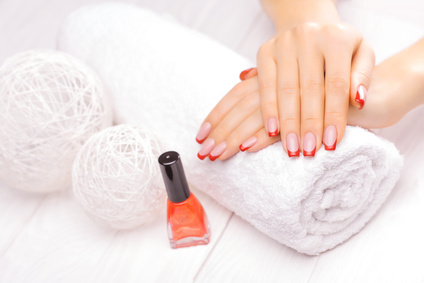 french manicure with red poppy flower